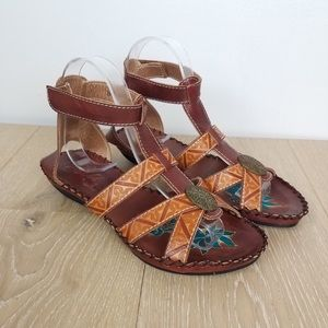 Leather Ankle T Strap Sandals Brown 6